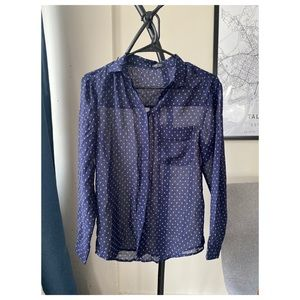 MANGO Navy Work Blouse